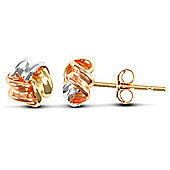 Jewelco London 9ct Yellow,white & rose Gold triple row Knot design Studs