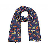 Navy and Wine Bird Print Long Scarf