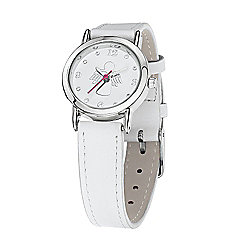 Jo For Girls White Leather Strap Guardian Angel Watch