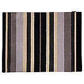 Wool Stripe Black Grey 70x130