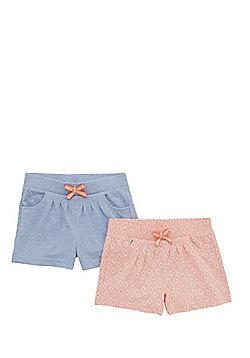 F&F 2 Pack of Diamond and Plain Jersey Shorts - Multi