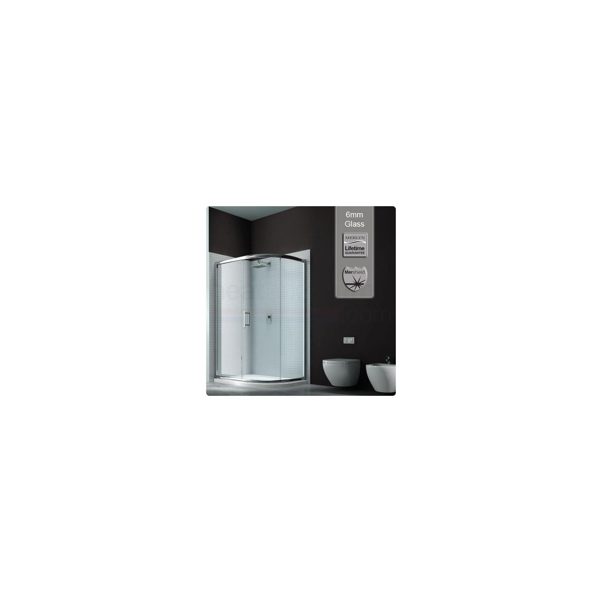 Merlyn Series 6 Sliding 1 Door Offset Quadrant Shower Enclosure, 1200mm x 900mm, Low Profile Tray, 6mm Glass at Tesco Direct