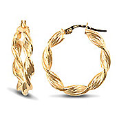 Jewelco London 9ct Yellow Gold Twisted hoop Earrings textured with barked pattern