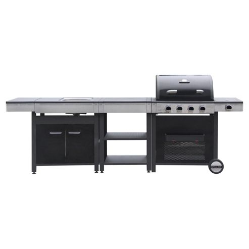 Grill Me outdoor kitchen, 4 burner gas grill side burner, table, sink table