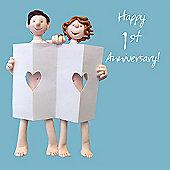 Holy Mackerel Happy 1st Anniversary Greetings Card