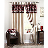 Curtina Coniston Eyelet Lined Curtains 90x90 inches (228x228cm) - Red