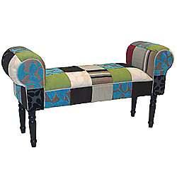 Shabby Chic Chaise Pouffe Stool / Wood Legs - Blue / Green / Red