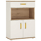 4KIDS 2 door 1 drawer cupboard with open shelf in light oak and white high gloss with orange handles