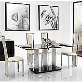 Vienna Black Glass 160 cm Dining Table with 4 Ivory Elsa Chairs