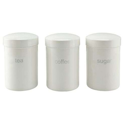 Tesco Set of 3 Tin Canisters, White