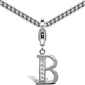 Jewelco London Sterling Silver Cubic Zirconia Identity Pendant - Initial B - 18inch Chain