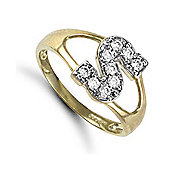 Jewelco London 9ct Gold Ladies' Identity ID Initial CZ Ring, Letter S - Size L
