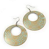 Gold/Light Green Cut-Out Floral Hoop Earrings - 6cm Length