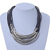 Contemporary Multistrand Grey Cord With Curved Metal Bar Necklace - 46cm Length