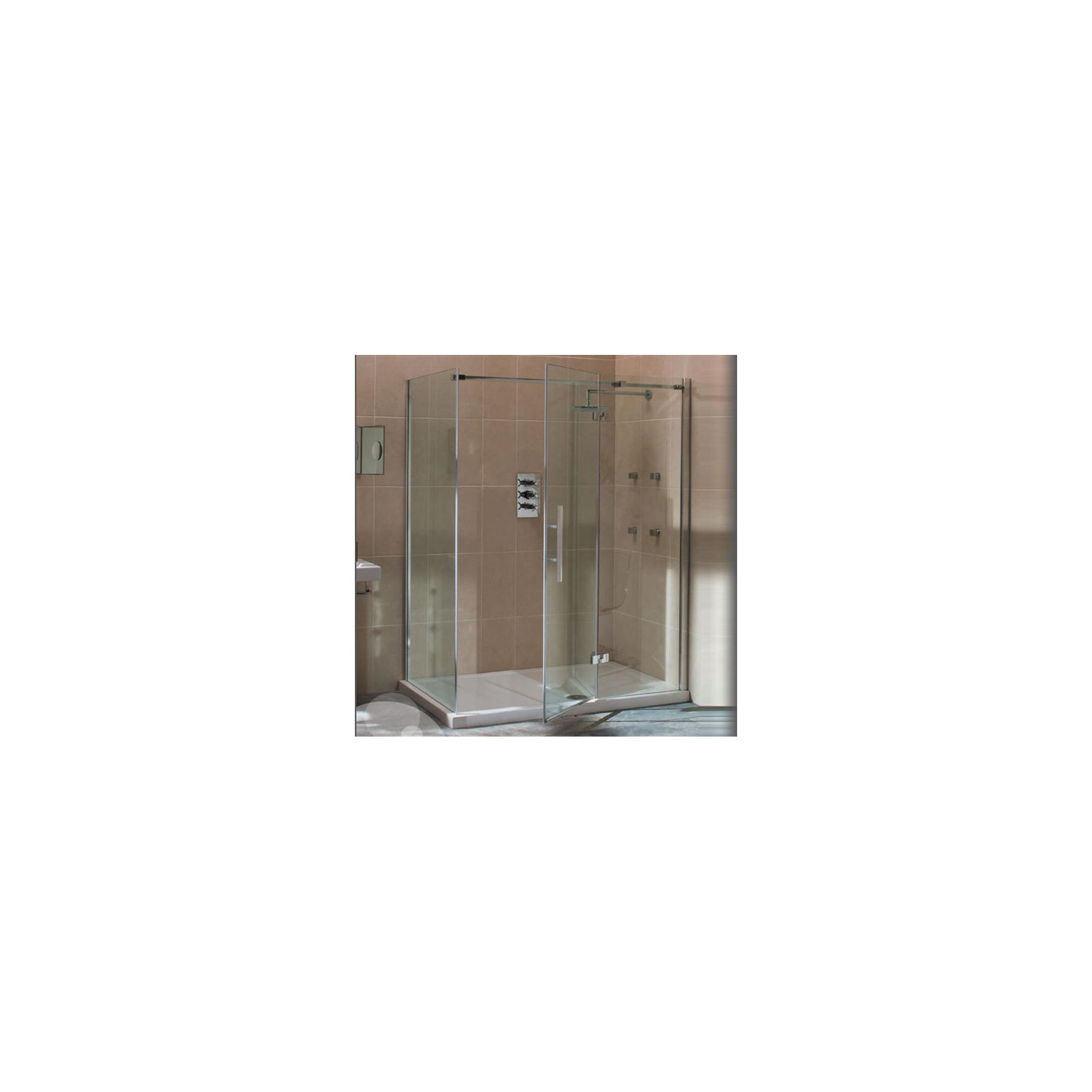 Merlyn Vivid Nine Frameless Hinged Shower Door and Inline Panel, 1400mm Wide, Right Handed, 8mm Glass at Tesco Direct