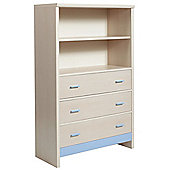 Fan Faro 3 Drawer Chest With Shelving Unit Top With Blue Trims