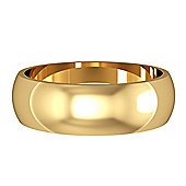 9ct Yellow Gold - 6mm Essential D-Shaped Band Commitment / Wedding Ring -