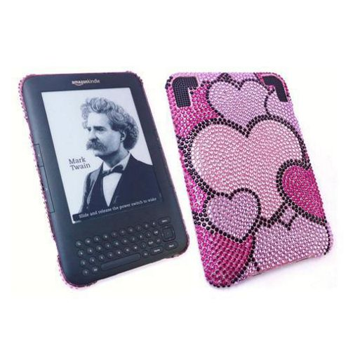 iTALKonline Screen Protector and Premium FunkGem Hearts Medley Case Pink/Black - For Amazon Kindle 3 3G