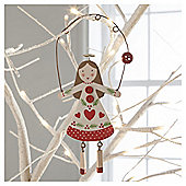 Gisela Graham Scandi Wood Fairy Red Hanging Decoration
