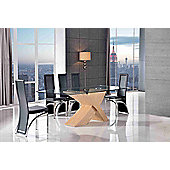 Valencia Glass & Oak 200 cm Dining Table with 8 Black Alisa Chairs