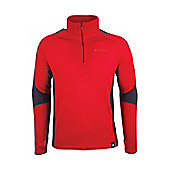 Asgard Mens Sports Breathable Merino Long Sleeve Zip Neck Baselayer Top - Red