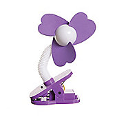 Dreambaby Clip On Stroller Fan White with Purple Fins