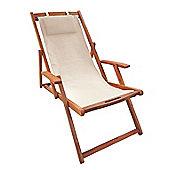 Bentley Garden Wooden Deck Chair - Cream