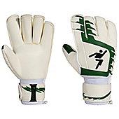 Precision Junior Classic Green Football Roll Finger Goalkeeper Gloves - White