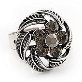 Flower Diamante Fancy Ring In Burn Silver Metal