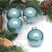 Pack of 4x 10cm Nordic Blue Glass Baubles in Enamel Finish