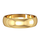 9ct Yellow Gold - 5mm Essential D-Shaped Band Commitment / Wedding Ring -