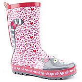 Brantano Girls Heart Cat Pink Wellington Boots - Pink