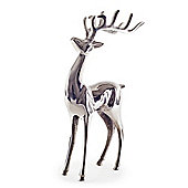 Large Polished Aluminium Standing Deer Stag Christmas Ornament
