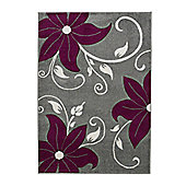 Think Rugs Verona Grey/Purple Hand Carved Rug - 60 cm x 120 cm (2 ft x 4 ft)