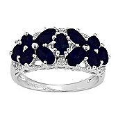 Gemondo Sterling Silver 2.75ct Natural Blue Sapphire & Diamond Floral Butterfly Ring