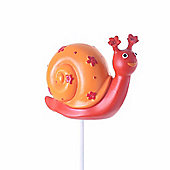 Bright Coloured Resin Snail on a Stake Garden Ornament in Orange