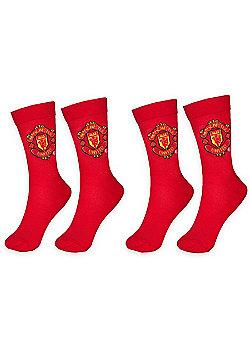 Manchester United Mens Socks 2 Pair Pack