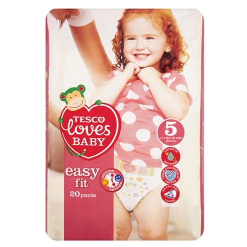 Tesco Loves Baby Easy-Fit Nappies - Size 5 - Junior - Carry Pack - 20 Pants