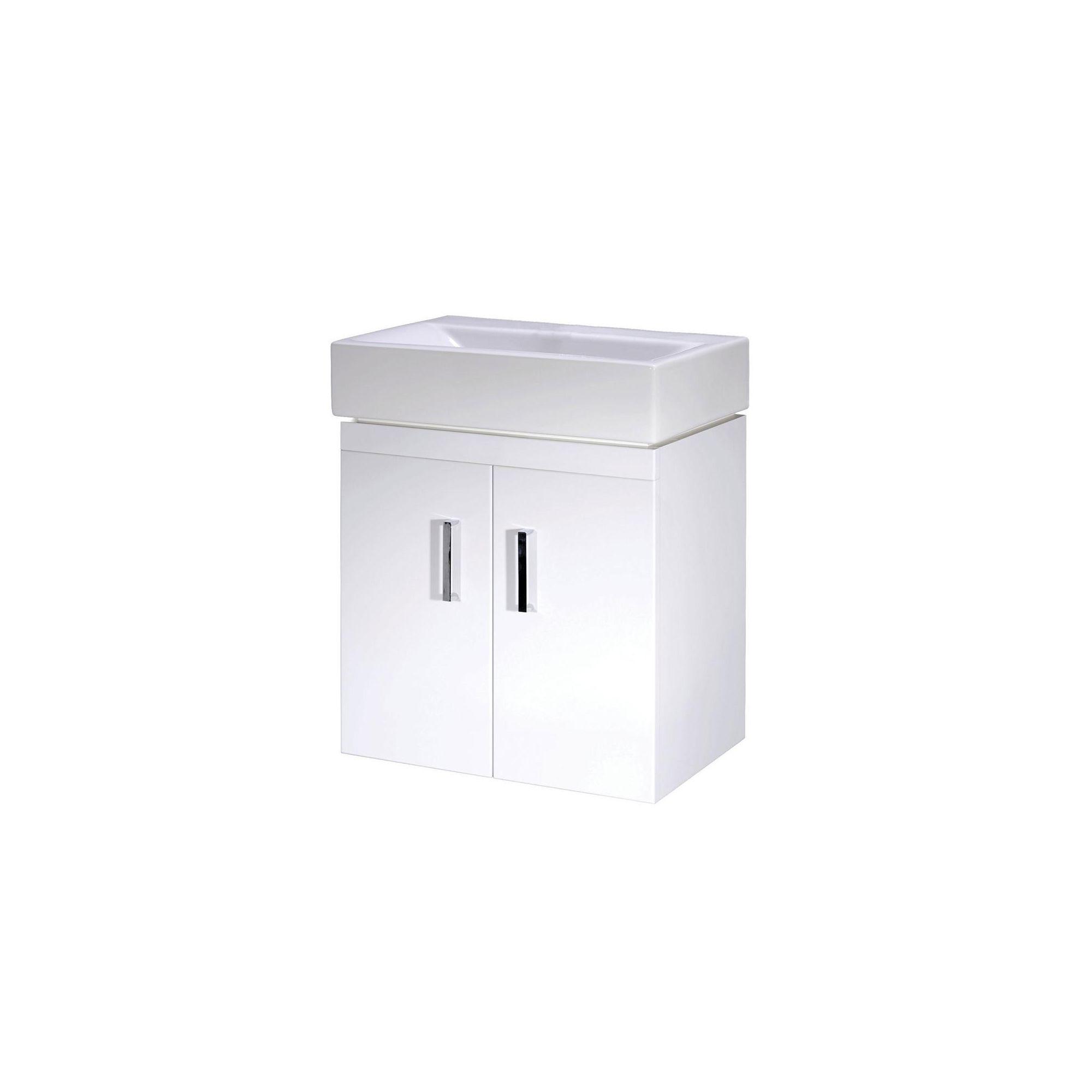 Premier Checkers Minimalist Wall Mounted Basin Vanity Unit White 450mm Deep