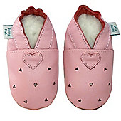 Dotty Fish Soft Leather Baby Shoe - Pink Cut Out Hearts - 0-6 mths