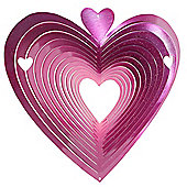 Iron Stop Small Pink Heart Classic Wind Spinner 6in Garden Feature