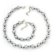 Ligth Grey/Metallic Grey Glass Pearl Necklace & Bracelet Set In Silver Plating - 38cm Length/ 4cm Extension