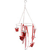Hanging Mobile Style Christmas Advent Tealight Holder with Ribbon Detail