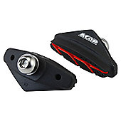 Acor Grooved Caliper Brake Pads, Black/Red