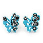 Tiny Light Blue Crystal Enamel 'Butterfly' Stud Earrings In Silver Tone Metal - 10mm Diameter