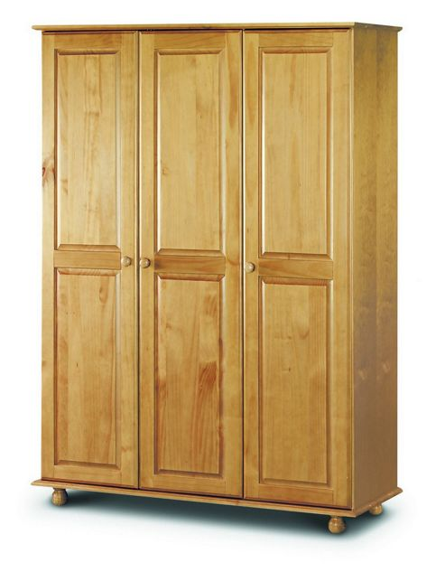 Buy pickwick antique pine finish wooden 3 door fitted for Wooden front doors fitted
