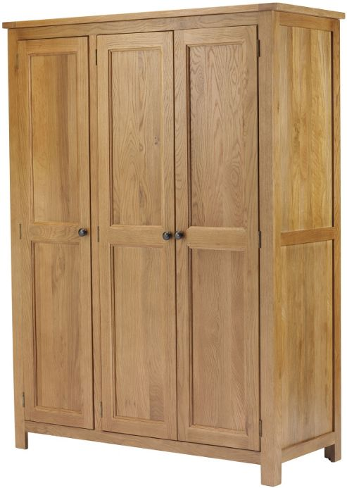 Canterbury Solid Oak and Pine 3 Door Wardrobe