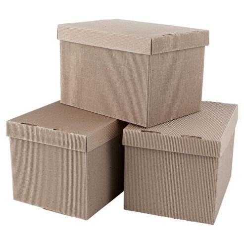 Plain Cardboard Storage Box (Copy Paper Box Size) 3pk