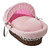 Clair de Lune Dark Wicker Moses Basket (Marshmallow Pink)