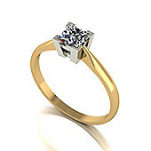 9ct Gold 4 Claw Solitaire ring set with a 4.5mm Square Brilliant Cut Moissanite equivelent 0.60ct